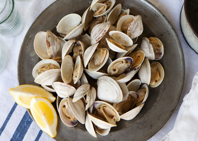 Grilled Clams with Herb Butter: